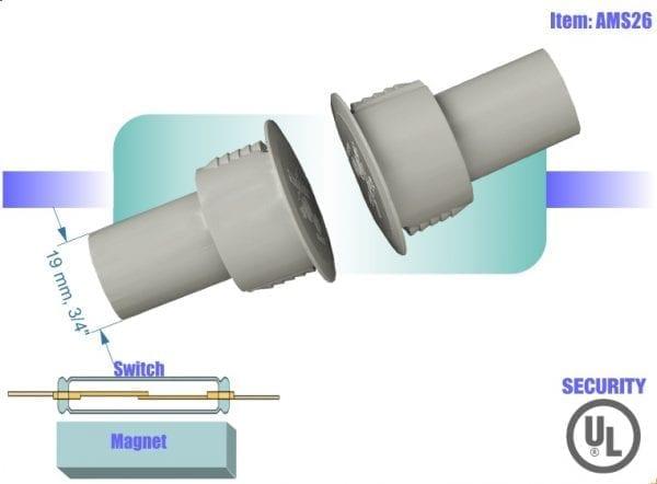 מפסק מגנטי לדלת פלדה AMS26 magnetic contact